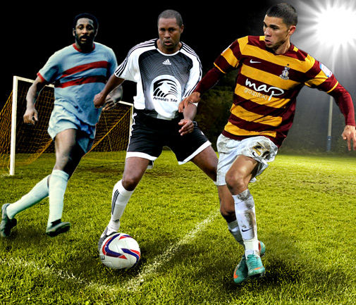 Following in famous footsteps: Wembley-bound Nahki Wells, far right, has earned the full-blooded support of fellow Bermudian football stars Clyde Best, far left, and Kyle Lightbourne. On Twitter: #WellsAtWembley *Photo montage by Gary Foster Skelton