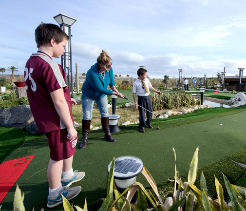 "Bermuda Fun Golf designer Hogan Lindgren and owners John Burcher and Jill Kowalchuk described the new facility as ""a beautiful addition to Snorkel Park."" While it is currently only open from Friday to Sunday, it will open seven days a week during peak season, they said. *Photo by Kageaki Smith"