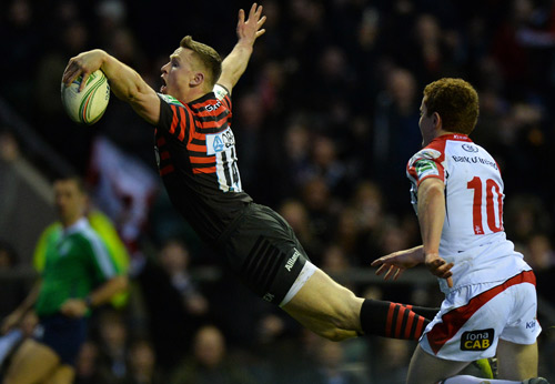 Chris Ashton displays his trademark try-scoring swallow dive for Saracens. *AFP photo.