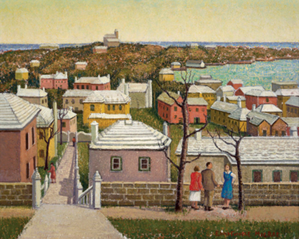 St George's by Emma Fordyce Macrae. The scene is from the top of Rose Hill where the St George Hotel stood, and looks across the harbour to the east.