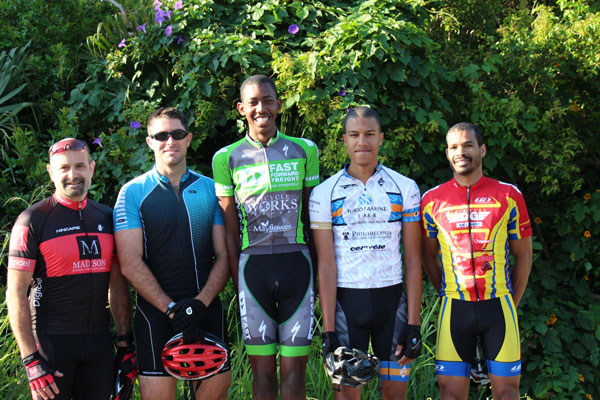 Bermuda's mountain bike team for the Natwest Island Games: Phil Trussell, Brian Steinhoff, Che'quan Richardson, Deshi Smith and Mark Hatherley . Photo by Rochelle Smith courtesy of the Bermuda Bicycle Association.