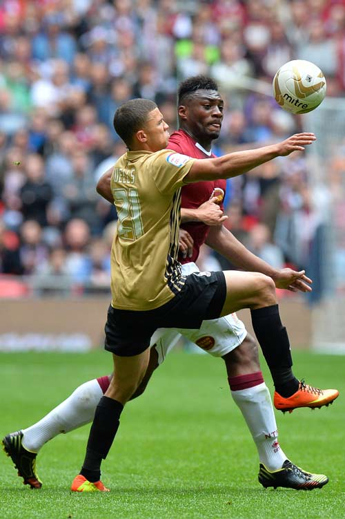 Nahki Wells in action during the League Two play-off final at Wembley. *AFP photo.