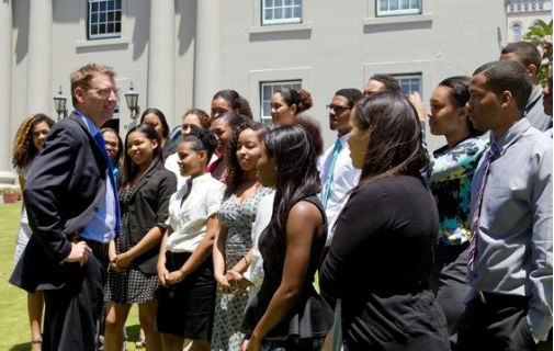 Minister Fahy with some of the summer students. *Photo supplied