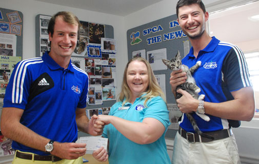 From left: Gordon Cox FOFC, Jenny Ruzicska SPCA Front Desk Administrator, Nicolas Plianthos FOFC and