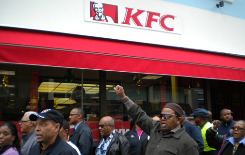 Long-running dispute: BIU members protest outside KFC on Queen Street in December 2011. *File photo by Raymond Hainey