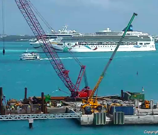 Heritage Wharf work during the Norwegian Breakaway's visit. *Photo by portbermudawebcam.com
