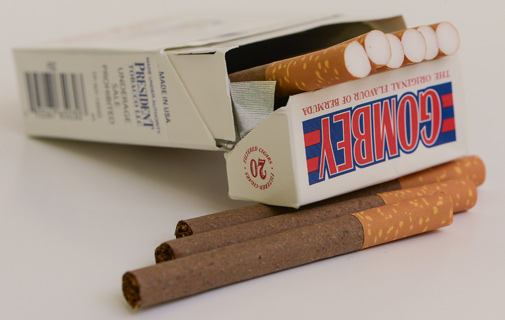 The cigarettes have the tagline 'The original flavour of Bermuda'. *Photo by Kageaki Smith