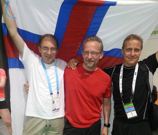 Vilhjalmur Gregoriussen, right, and Hogni Carlsson, centre, were killed in a car accident on their way home from the Island Games. Mogens Eriksen is on the left. *Photo supplied