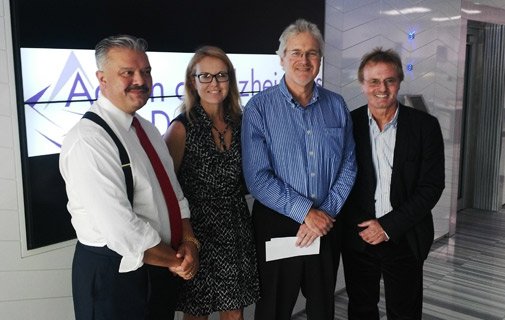 L-R: William Madeiros, Elizabeth Stewart of Action for Alzheimers and Demential, Michael Freisenbruch and Tony Brannon of Friesenbruch and Brannon Media. *Photo supplied