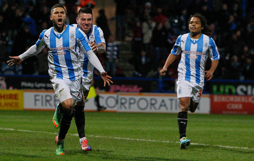 Debut joy: Wells reacts with delight after scoring the winner against Millwall. *Photo courtesy of @htafcdotcom