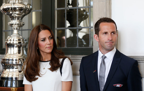 Launch: The Duchess of Cambridge and Sir Ben Ainslie at the latter's America's Cup bid. *AFP photo
