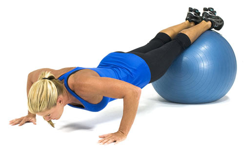 Swiss ball push-ups are important for pushing and stablising muscles to be coordinated. *Photo supplied
