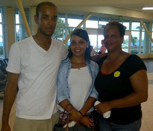 Grieving: From left, Meshach Swan, his sister Kenya Thompson and mother Melanie Swan.  *Photo supplied