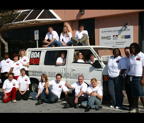 The Bermuda Sun team back when the paper was relaunched. *File photo