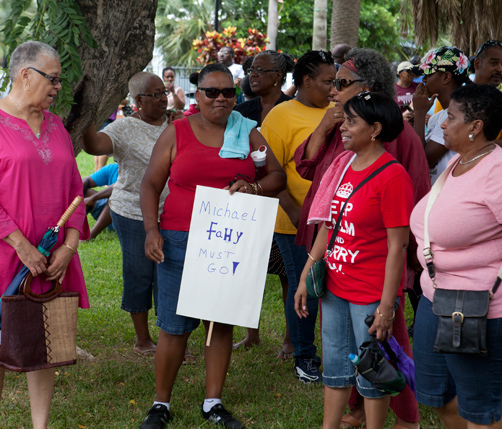 Anger: Marchers protested last week.  *Photo by Gary Foster Skelton