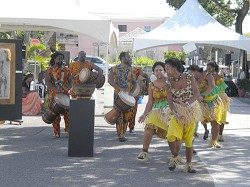 African drummers and dancers, Gombeys and majorettes, were among the performers at Monday's Labour Day festivities at Union Square. <em>*Photo by Amanda Dale</em><br />