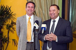 <strong>Showing support</strong>: Minister Furbert joins Philip Barnett, owner of Victoria Grill in highlighting Restaurant Week, which is taking place from now through February 6. <em>*Photo supplied</em>