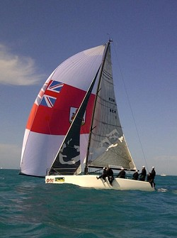 Cutler's mainsail and jib depict the outline of the island while his  spinnaker displays a huge Bermuda flag. Some of the other competitors in  his fleet include Ed Baird and Chris Larson. <em>*Photo supplied</em><br />