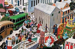 <strong>Detail</strong>: Graham Foster said he did not want to 'sugar coat' any episodes in black Bermudian history. Pictured above is a scene from his mural depicting black Bermudians protesting against segregation. <em>*Hall of History mural by Graham Foster, collection of National Museum of Bermuda</em>