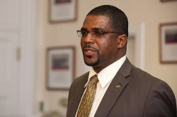 <strong>Public Works Minister</strong> Michael Weeks. <em>*Photo by Kageaki Smith</em><br />