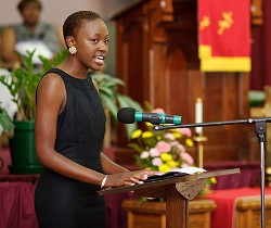 Mentoring our youth: Jana Outerbridge talks at a 2011 GED graduation ceremony, following her Miss Bermuda win. She has now fulfilled her dream to launch a mentoring programme for the island's young women. <em>*Photo by Kageaki Smith</em>