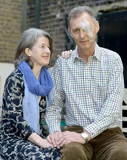 Governor-designate George Fergusson, with wife Margaret, at their south London home after he was blinded in his left eye during a mugging in London. <em>*Photo by Fiona Hanson<br /></em>