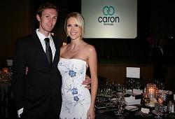 Former Miss USA and her boyfriend Brandon Belsky at the Caron Bermuda Award of Excellence Gala Dinner at the Fairmont Southampton Resort on Friday evening. <em>*Photo by Sarah Lagan</em>