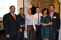 Pictured: Minister Wayne Furbert, Deborah K. Zilian - Wealth-X (competition winner), Florent Robineau - Red Cliffs Capital Florent (competition winner), John Sampson - JBS Investments(competition winner), Cheryl Packwood – CEO, Business Bermuda, Peter Hughes – President & CEO, Apex Fund Services. <em>*Photo supplied</em>