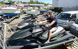 Feel the power: A & P Marine owner Michael Araujo said there will be two models of jetskis to try out on Saturday. <em>*Photo by Kageaki Smith</em>
