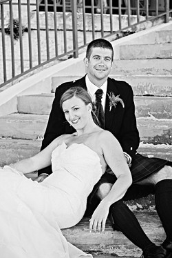 Katrina and Duncan Barclay relax after their wedding on the steps of Commissioner's House. <em>*Photo by Becky Spencer Photography</em><br /><br />