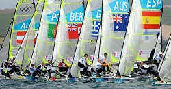 Jesse and Zander Kirkland at the start of the 49er sailing class at the London 2012 Olympic Games, in Weymouth on July 30, 2012. *<em>AFP photo</em>