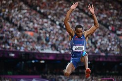 Tyrone Smith competing in the Olympic long jump final on Saturday, August 4, 2012. *AFP photo
