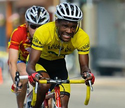 Focused: Vashon Cann, front, and Mark Godfrey will be two of the eight youth riders competing in the Caribbean Cycling Championships on Saturday and Sunday in the Dominican Republic. Cann is a threat to medal in the road race while Godfrey could also reach the podium in the time trial. *Photo by Simon Parker