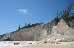 Fresh concerns: Cliff rocks off South Shore in Warwick fell to the ground ahead of Tropical Storm Leslie. This happened just east of the Grand Atlantic Development. It is the second major fall in the area in the last couple of months. <em>*Photo supplied</em>