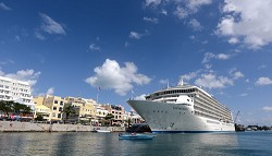 One-off: The passenger-owned luxury cruise ship The World docked in Hamilton yesterday. Next year Bermuda will see far fewer cruise ship visits. <em>*Photo by Kageaki Smith</em>
