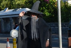 Gandalf the Great, aka Tim Stewart, Acting Chair of the Management Committee for BIFF, at the Johnny Barnes roundabout on Wednesday morning. <em>*Photo supplied</em>