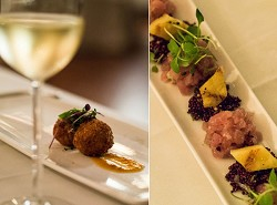 Traditional twist: Left, Bermuda's fish chowder fritter with jalepeno jam and pea shoots offered a new take on a traditional dish. Right, Maui's yellow fin tuna, sesame oil, scallions, black quinoa and pineapple. <em>*Photos by Sarah Lagan</em>