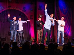 Funny guys: From left, Mark Forward, Orny Adams, Danny Bhoy, Alonzo Bodden and Jonathan Young. <em>*Photo by Sarah Lagan</em>