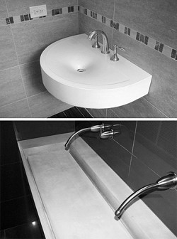 <strong>Individual</strong>: The curved D'Urban ecoBASIN (top) increases floorspace and the Penthouse ecoBASIN has the look of a counter and a sink at the same time.<em>*Photo supplied</em>