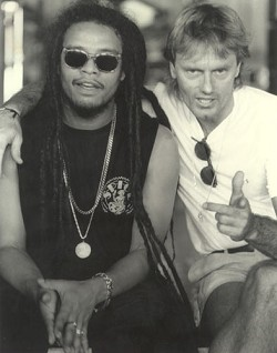 Local connections: Maxi Priest and local promoter and musician Tony Brannon pictured in 1989 during a tour. *Photo supplied